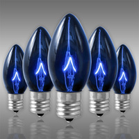 25 Pack - C9 - Transparent Blue - Double Dipped - 7 Watt - Christmas Light Replacement Bulbs - Intermediate Base - 130 Volt