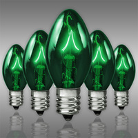 25 Pack - C7 - Transparent Green - Double Dipped - 7 Watt - Christmas Light Replacement Bulbs - Candelabra Base - 130 Volt