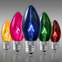 C9 - Transparent Multi Color - Intermediate Base  -  7 Watt - Double Dipped - Christmas Light Replacement Bulbs - 130 Volt - 25 Pack