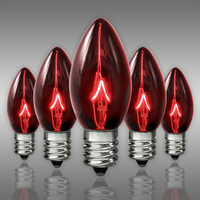 25 Pack - C7 - Transparent Red - Double Dipped - 5 Watt - Christmas Light Replacement Bulbs - Candelabra Base - 130 Volt
