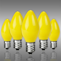 C7 - Opaque Yellow - Candelabra Base  -  5 Watt - Christmas Light Replacement Bulbs - 120 Volt - 25 Pack