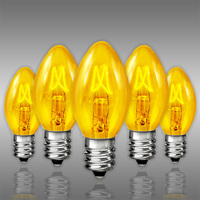 25 Pack - C7 - Transparent Yellow - Triple Dipped - 5 Watt - Christmas Light Replacement Bulbs - Candelabra Base - 130 Volt