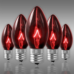 25 Pack - C9 - Transparent Red - Triple Dipped - 7 Watt Image