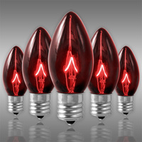 25 Pack - C9 - Transparent Red - Triple Dipped - 7 Watt - Christmas Light Replacement Bulbs - Intermediate Base - 130 Volt