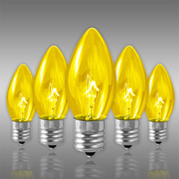 25 Pack - C9 - Transparent Yellow - Triple Dipped - 7 Watt - Christmas Light Replacement Bulbs - Intermediate Base - 130 Volt