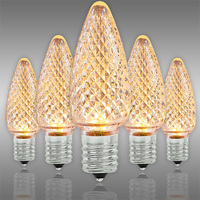 C9 LED - Warm White Deluxe - Faceted Finish - Christmas Light Replacement Bulbs - Intermediate Base - Pack of 25