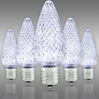 LED C9 - Cool White - Intermediate Base - Faceted Finish - 50,000 Life Hours - SMD LED Retrofit Bulb - 130 Volt - Pack of 25