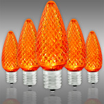 LED C9 - Orange - 0.5 Watt - Intermediate Base - Faceted Finish Image