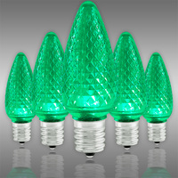 LED C9 - Green - Intermediate Base - Faceted Finish - 50,000 Life Hours - SMD LED Retrofit Bulb - 130 Volt - Pack of 25