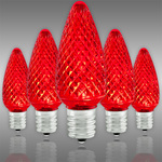 LED C9 - Red - 0.5 Watt - Intermediate Base - Faceted Finish Image