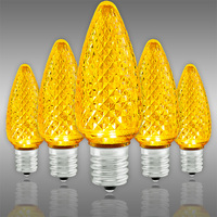 LED C9 - Yellow -  Intermediate Base - Faceted Finish - 50,000 Life Hours - SMD LED Retrofit Bulb - 130 Volt - Pack of 25