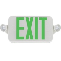 Single Face LED Combination Exit Sign - LED Lamp Heads - Green Letters - 90 Min. Operation - White - 120/277 Volt - Lithonia ECC