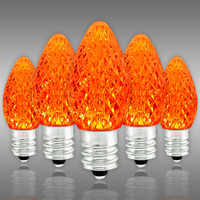 LED  C7 - Orange - 0.54 Watt - Candelabra Base - Faceted Finish - 50,000 Life Hours - SMD LED Retrofit Bulb - 130 Volt - Pack of 25