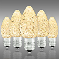 LED C7 - Warm White - 0.66 Watt - Candelabra Base - Faceted Finish - 50,000 Life Hours - SMD LED Retrofit Bulb - 130 Volt - Pack of 25