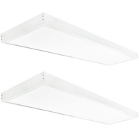 4400 Lumens - 1x4 Ceiling LED Panel Light With Surface Mount Kit - 40 Watt - 5000 Kelvin - Opaque Smooth Lens - 2 Pack - GlobaLux KIT10043