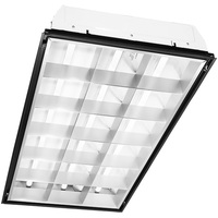 2x4 LED Recessed Troffer - 18 Louvered Cells - Equal to a 3-Lamp T8 Fluorescent Troffer - 3 LED Tubes Included