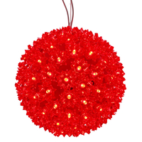 LED - Red Starlight Sphere - Utilizes 150 Wide Angle LED Lights - 10 in. dia.  - Green Wire - Indoor/Outdoor - 120 Volt - Vickerman X121003