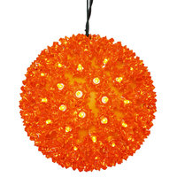 LED - Orange Starlight Sphere - Utilizes 150 Wide Angle LED Lights - 10 in. dia.  - Green Wire - Indoor/Outdoor - 120 Volt - Vickerman X121008