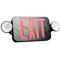 Double Face LED Combination Exit Sign - LED Lamp Heads - Red Letters - 90 Min. Operation - Black - 120/277 Volt - Fulham FHEC30BR