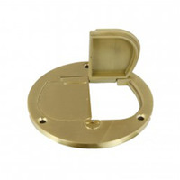 Enerlites 975502-C - Round Cover Plate with 20A Duplex Tamper and Weather Resistant Receptacle - Single Gang - Solid Brass - 4 in. Diameter