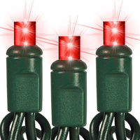 25 ft. Stringer - (50) Bulbs - LED - Ruby Red Wide Angle Mini Lights - 6 in. Spacing - Green Wire - 120 Volt - Plug Adapter Cable with High-Power Rectifier Sold Separately