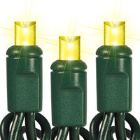 25 ft. Stringer - (50) Bulbs - LED - Yellow Wide Angle Mini Lights - 6 in. Spacing - Green Wire - 120 Volt - Plug Adapter Cable with High-Power Rectifier Sold Separately
