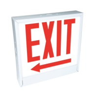 LED Exit Sign - White Steel - Left Arrow - Glass Lens - Red Letters - 120-277 Volt - AC Only no Battery