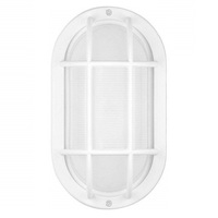 LED - Oval Cage Bulk Head - Matte White/Frosted - Euri EOL-WL14WH-2050e