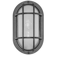 LED - Oval Cage Bulk Head - Matte Black/Frosted - Euri EOL-WL13BLK-2050e