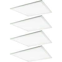 3600 Lumens - 3500 Kelvin Halogen White - 36 Watt - 2x2 Ceiling LED Panel Light - Equal to a 2-Lamp T8 Fluorescent Troffer - Opaque Smooth Lens - 4 Pack - 5-Year Warranty