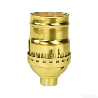 Short Medium Base Socket -  Keyless - Polished Brass Finish - 1/8 IPS With Screw Set - 660 Watt Maximum - 250 Volt Maximum - PLT 40-4160-01