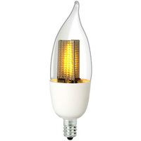 LED Flame Bulb - 1 Watt - 10 Watt Equal - Candle Glow - 50 Lumens - 2200 Kelvin - Clear - Candelabra Base - 120 Volt - Euri Lighting ECA9.5-1120fc