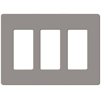 Gray - Screwless - 3 Gang - Decorator Wall Plate - Lutron Claro CW-3-GR