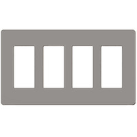 Gray - Screwless - 4 Gang - Decorator Wall Plate - Lutron Claro CW-4-GR