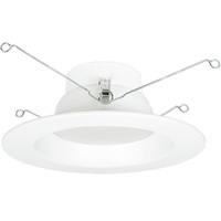 6 in. LED Downlight - 12 Watt - 75 Watt Equal - Daylight White - 800 Lumens - 5000 Kelvin - 90 CRI - Smooth Baffle Trim - 120V - Halco 99644