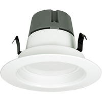 650 Lumens - 4 in. Retrofit LED Downlight - 12W - 50W Equal - 3000 Kelvin - Stepped Baffle Trim - Dimmable - 120V - Green Creative 97763