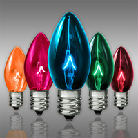 25 Pack - C7 - Transparent Multi-Color -Triple Dipped - 5 Watt - Christmas Light Replacement Bulbs - Candelabra Base - 130 Volt