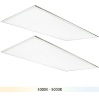 (2) 2x4 LED Panel Light - Color Adjustable from 3000 to 5000 Kelvin - 50 Watt - 5500-6000 Lumens - Opaque Smooth Lens - 5 Year Warranty - Requires a Controller Sold Separately - 2 Pack