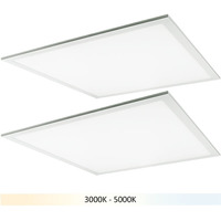 (2) 2x2 LED Panel Light - Color Adjustable from 3000 to 5000 Kelvin - 40 Watt - 4400-4800 Lumens - Opaque Smooth Lens - 5 Year Warranty - Requires a Controller Sold Separately - 2 Pack