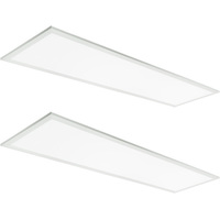 3600 Lumens - 4100 Kelvin Cool White - 39.5 Watt - 1x4 Ceiling LED Panel Light - Equal to a 2-Lamp T8 Fluorescent Troffer - Opaque Smooth Lens - 90 Minute Emergency Backup - 2 Pack - 5 Year Warranty