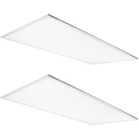 5000 Lumens - 3500 Kelvin Halogen White - 53.5 Watt - 2x4 Ceiling LED Panel Light - Equal to a 3-Lamp T8 Fluorescent Troffer - Opaque Smooth Lens - 90 Minute Emergency Backup - 2 Pack - 5 Year Warranty