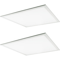 3600 Lumens - 3500 Kelvin Halogen White - 39.5 Watt - 2x2 Ceiling LED Panel Light - Equal to a 2-Lamp T8 Fluorescent Troffer - Opaque Smooth Lens - 90 Minute Emergency Backup - 2 Pack - 5 Year Warranty