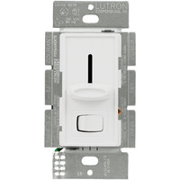 White - 600 Watt Max. - Incandescent Dimmer - Single Pole - On/Off Rocker Switch and Slider -120 Volt - Lutron Skylark S-600P-WH