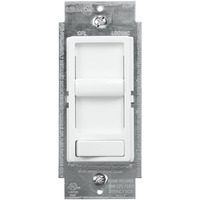 Incandescent or CFL/LED Dimmer - Single Pole/3-Way - White - Slide and On/Off Rocker Switch - 120 Volt - Leviton 6674