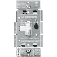 White - 250W or 600W Max. - CFL/LED or Incandescent/Halogen Dimmer - Single Pole/3-Way - Toggle and Slide Switch - 120 Volt - Lutron Ariadni AYCL-253P-WH