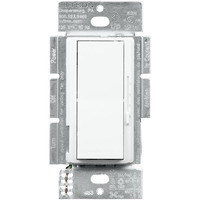 3 Speed Quiet Fan Control and Incandescent/Halogen/LED Light Switch - Single Pole - Rocker Switch and Slide to Off - White