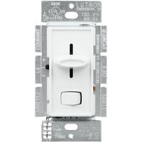 White - 150 Watt Max. - Lutron Skylark CFL and LED Dimmer - Single Pole/3-Way - Rocker and Slide Switch - 120 Volt - Lutron SCL-153P-WH