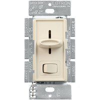 3 Speed Quiet Fan Control and Incandescent Light Switch - Single Pole - Slide-to-Off Switch with On/Off Rocker - Light Almond