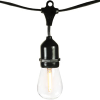25 ft. - Patio Light Stringer - 15 Sockets - 18 in. Spacing - Black Wire - Male to Female - LED S14 Bulbs Included