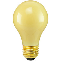 40 Watt - A19 Incandescent Light Bulb - Opaque Yellow - Medium Brass Base - 130 Volt - Satco S4983